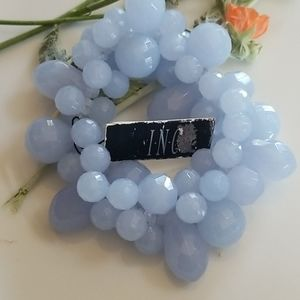 2/$28 INC blue beads stretch bracelet